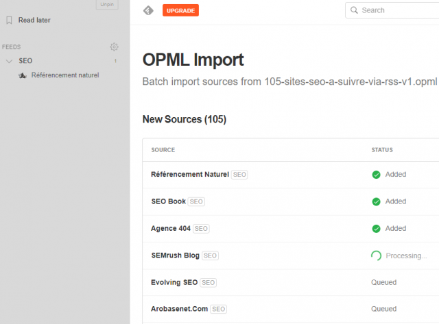 Feedly OPML import